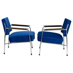 Pair of Art Deco Blue Tubular Steel Armchairs, New Upholstery, circa 1930