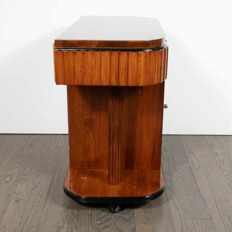 Chrome Pair of Art Deco Book-Matched Walnut and Black Lacquer Machine Age End Tables For Sale