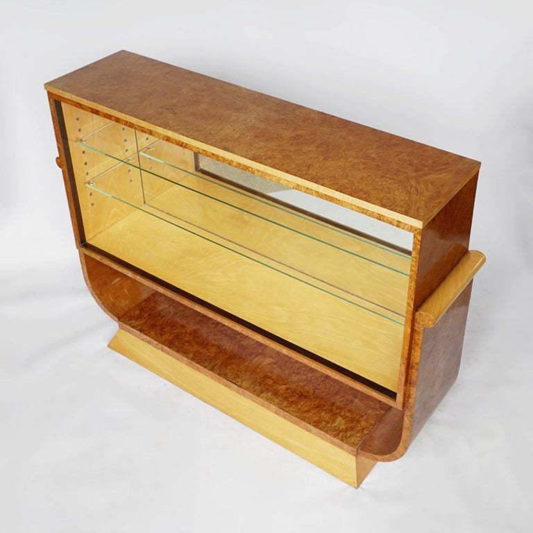 English Pair of Art Deco Bookcases by Harry & Lou Epstein Burr Walnut and Satin Birch For Sale
