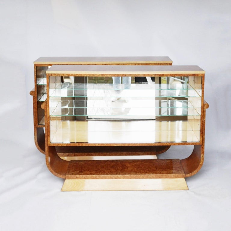 Pair of Art Deco Bookcases by Harry & Lou Epstein Burr Walnut and Satin Birch For Sale 4