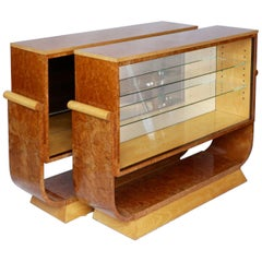 Pair of Art Deco Bookcases by Harry & Lou Epstein Burr Walnut and Satin Birch