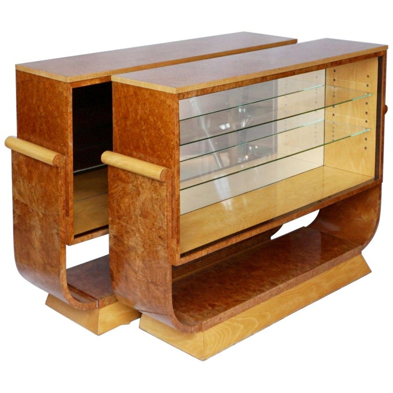 Pair of Art Deco Bookcases by Harry & Lou Epstein Burr Walnut and Satin Birch For Sale