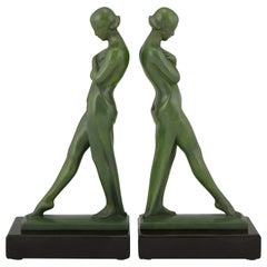 Pair of Art Deco Bookends Standing Nudes Fayral, Pierre Le Faguays, 1930