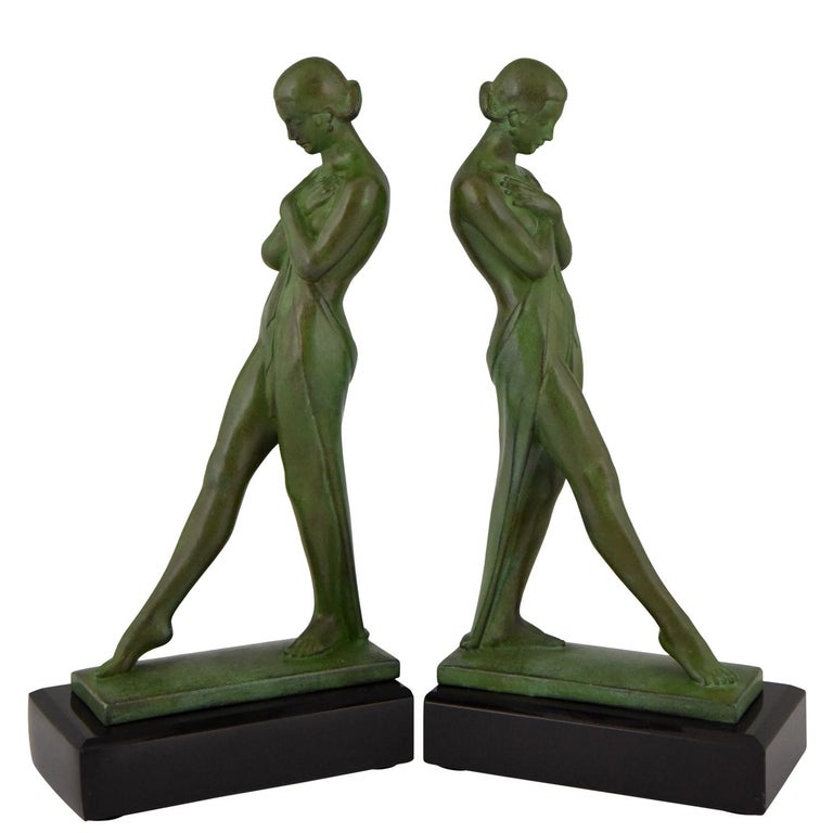 Pair of Art Deco Bookends Standing Nudes with Drape Fayral, Pierre le Faguays For Sale