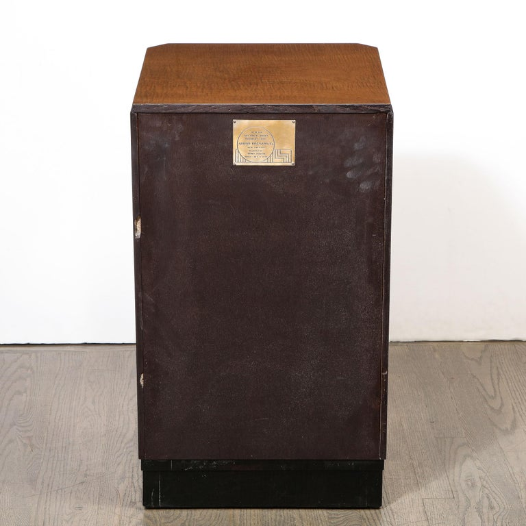 Pair of Art Deco Bookmatched Amboyna & Burled Elm Nightstands with Cubist Detail For Sale 6