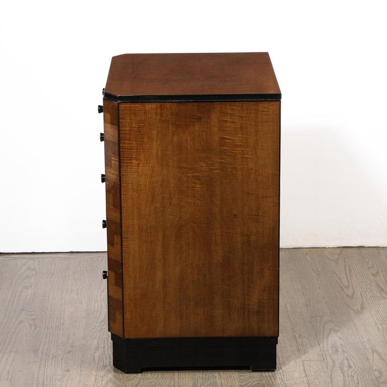 Pair of Art Deco Bookmatched Amboyna & Burled Elm Nightstands with Cubist Detail For Sale 7