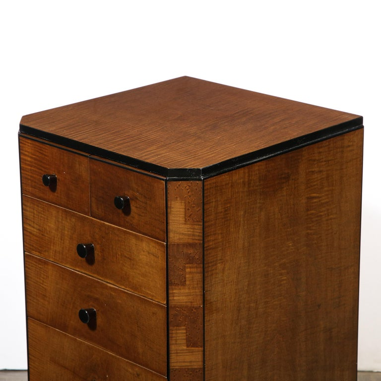 Pair of Art Deco Bookmatched Amboyna & Burled Elm Nightstands with Cubist Detail For Sale 8