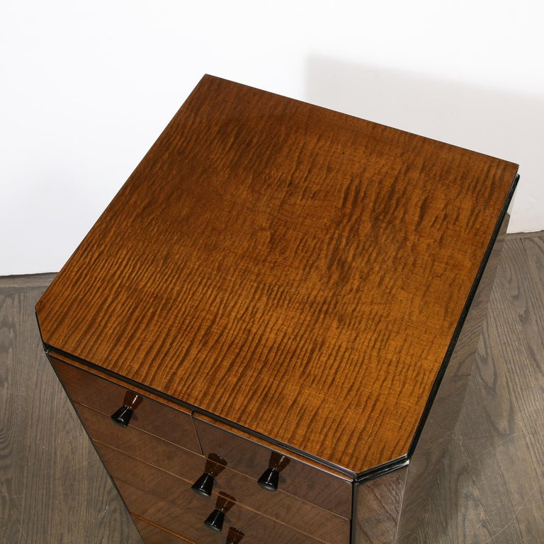 Pair of Art Deco Bookmatched Amboyna & Burled Elm Nightstands with Cubist Detail For Sale 10