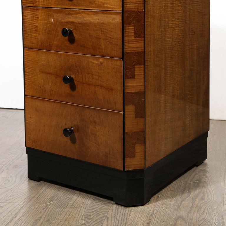 Pair of Art Deco Bookmatched Amboyna & Burled Elm Nightstands with Cubist Detail For Sale 2