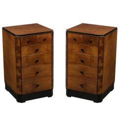 Pair of Art Deco Bookmatched Amboyna & Burled Elm Nightstands with Cubist Detail