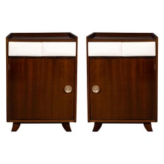 Pair of Art Deco Bookmatched Mahogany and Leather Nightstands by Gilbert Rohde