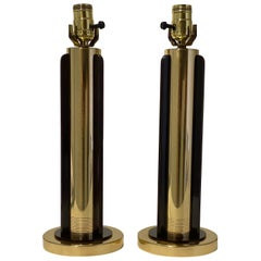 Pair of Art Deco Brass Lamps by Chase