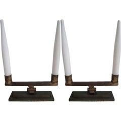 Pair of Art Deco Brass Table Lamps
