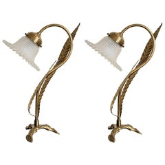 Pair of Art Deco Brass Table Lamps with Art Glass Shades