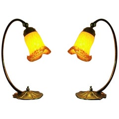 Pair of Art Deco Brass Table Lamps with French Pâte de Verre Glass Shades, 1930s