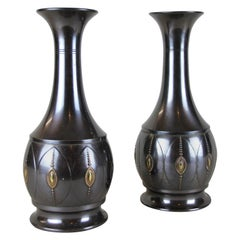 Pair of Art Deco Brass Vases by KMD, Netherlands, circa 1920