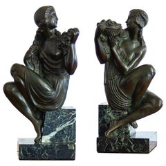 Pair of Art Deco Bronze and Marble Bookends