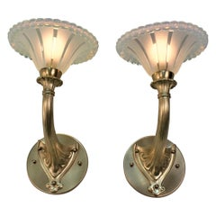 Pair of Art Deco Bronze and Opaline Glass Wall Sconces