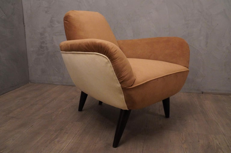 Pair of Art Deco Brown and Withe Italian Armchairs, 1940 For Sale 7