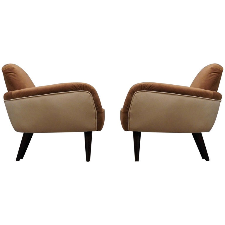 Pair of Art Deco Brown and Withe Italian Armchairs, 1940 For Sale