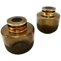 Pair of Art Deco Brown Blown Glass Vases in the Style of Borsani, Italy