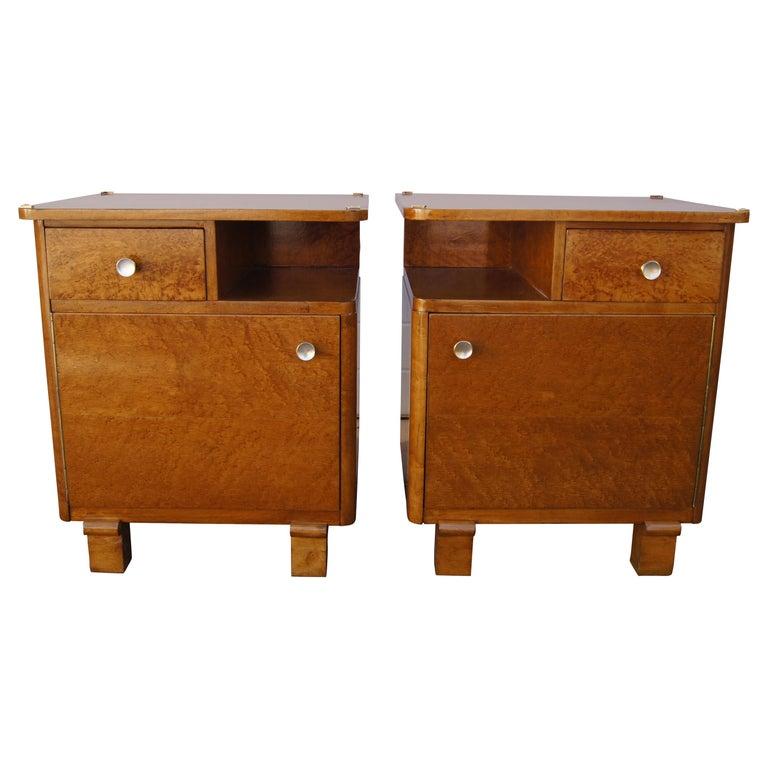 Pair of Art Deco Burl Wood Nightstands For Sale