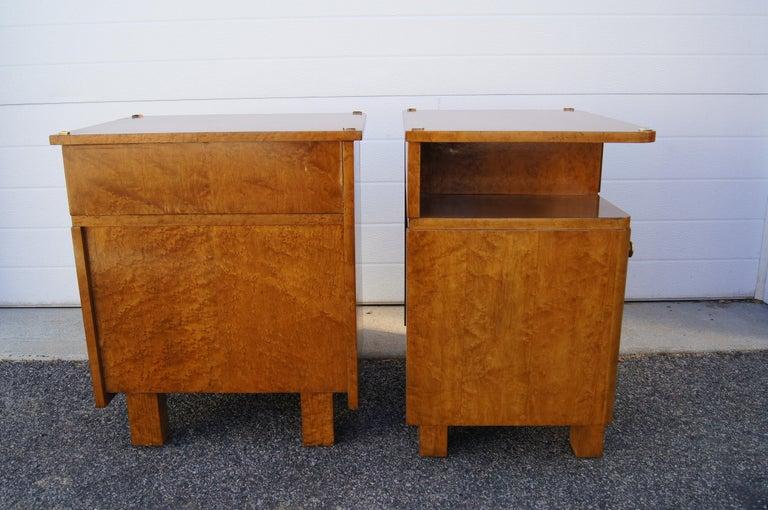 Brass Pair of Art Deco Burl Wood Nightstands For Sale