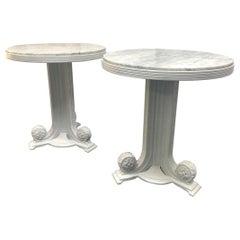 Pair of Art Deco Carrara Marble-Top Tables