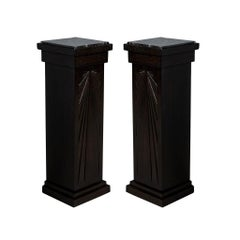 Pair of Art Deco Carved Column Pedestal Stands