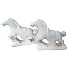 Pair of Art Deco Carved Marble Horse Sculptures