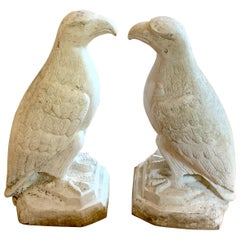 Pair of Art Deco Cast Aluminum Seated Garden Eagles