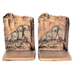Pair of Art Deco Cast Brass & Cold Painted Bookends with Perched Owls