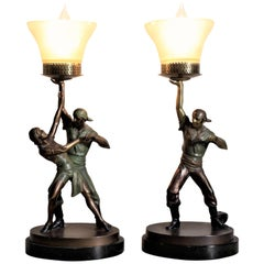 Pair of Art Deco Cast and Cold-Painted Figural Theatrical Pirate Table Lamps