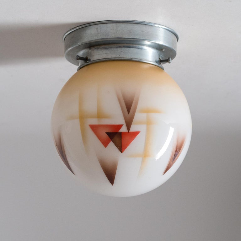 Pair of Art Deco Ceiling or Wall Lights, circa 1930, Enameled Glass For Sale 7