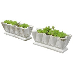 Pair of Art Deco Cement Concrete Stone Geometric Garden Planters Plant Pot