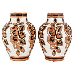 Pair of Art Deco Ceramic Craquelé Vases Flowers Charles Catteau for Keramis 1926