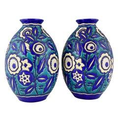 Pair of Art Deco Ceramic Craquelé Vases Flowers Charles Catteau for Keramis 1929