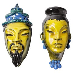 Pair of Art Deco Ceramic Mask by C Trabert Paris 1940 Yellow and Blue Colors