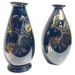 Pair of Art Deco Ceramic Vases Black Silver and Gold Boch Frères, Belgium, 1931