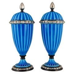 Pair of Art Deco Ceramic Vases or Urns with Blue Glaze Paul Milet for Sèvres