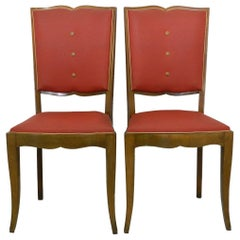 Pair of Art Deco Chairs Moustache Back French, circa 1930