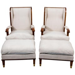 Pair of Art Deco Chairs with Ottomans
