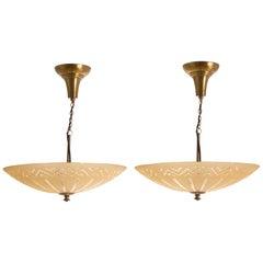 Pair of Art Deco Chandeliers