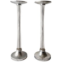 Art Deco Chrome and Acrylic Pedestals Stands Columns, 1930