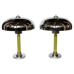Pair of Art Deco Chrome and Bakelite Dome Lamps Some Replacement Parts