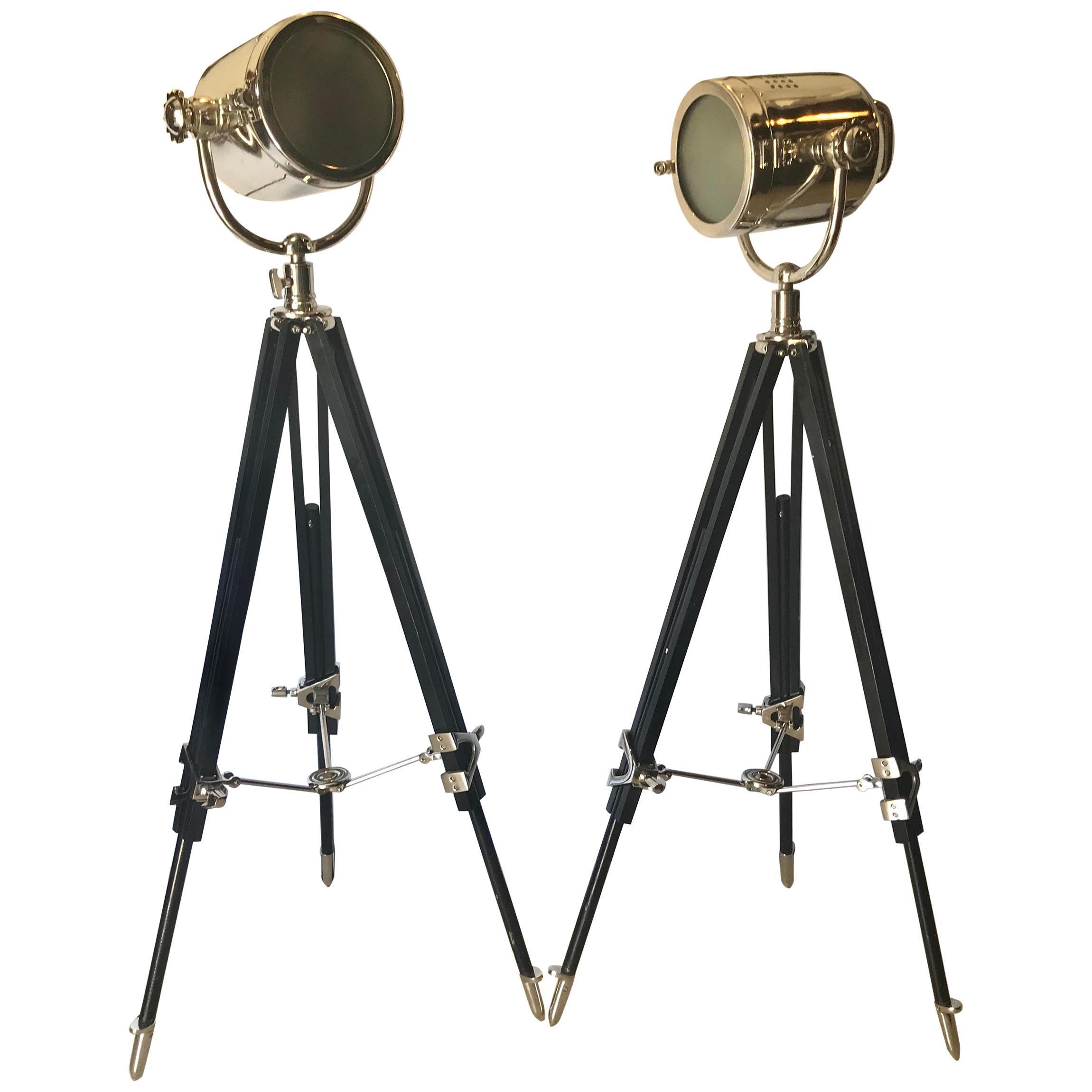 Pair of Art Deco Chrome Spotlight Floor Lamps on Ebony Tripod Bases