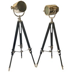 Pair of Art Deco Chrome Spotlight Floor Lamps on Ebony Tripod Bases