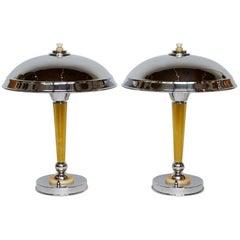 Pair of Art Deco Chromed Metal and Bakelite Dome Lamps