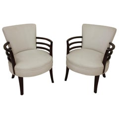 Pair of Art Deco Circular Chairs in the Style of Gilbert Rohde