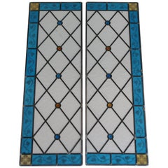 Pair of Art Deco Clear, Blue and Gold Stained Glass Panels